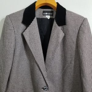 Vintage Houndstooth Wool Blazer with Velvet Collar